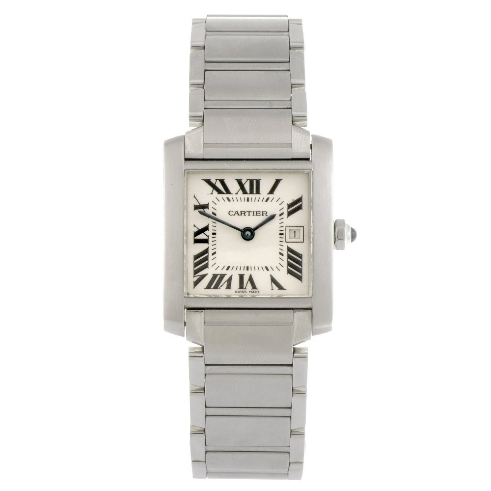 (809031760) A stainless steel quartz Cartier Tank Franc