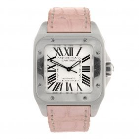 (954000528) A stainless steel automatic Cartier Santos
