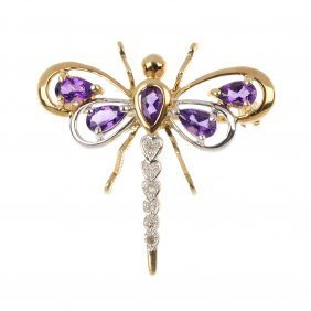 A 9ct gold amethyst and diamond dragon fly brooch.