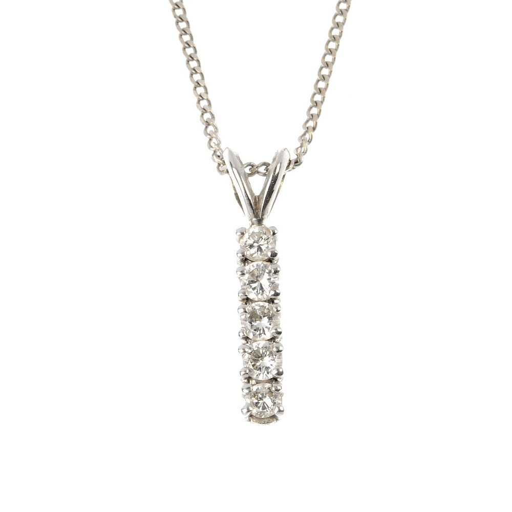 An 18ct gold diamond five-stone pendant.