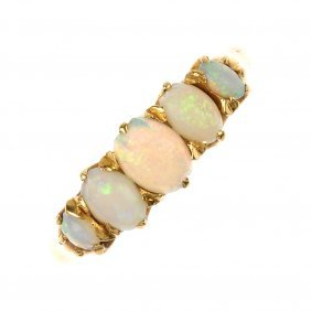 An early 20th century 18ct gold opal five-stone ring.