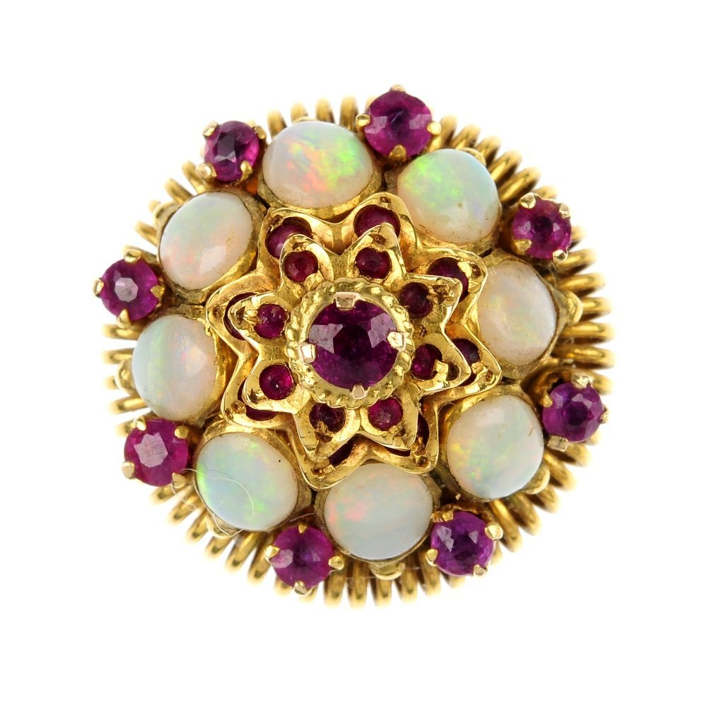 A ruby and opal cluster ring.