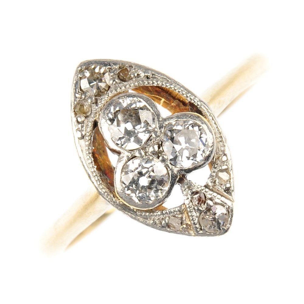 A mid 20th century 18ct gold and platinum diamond ring.