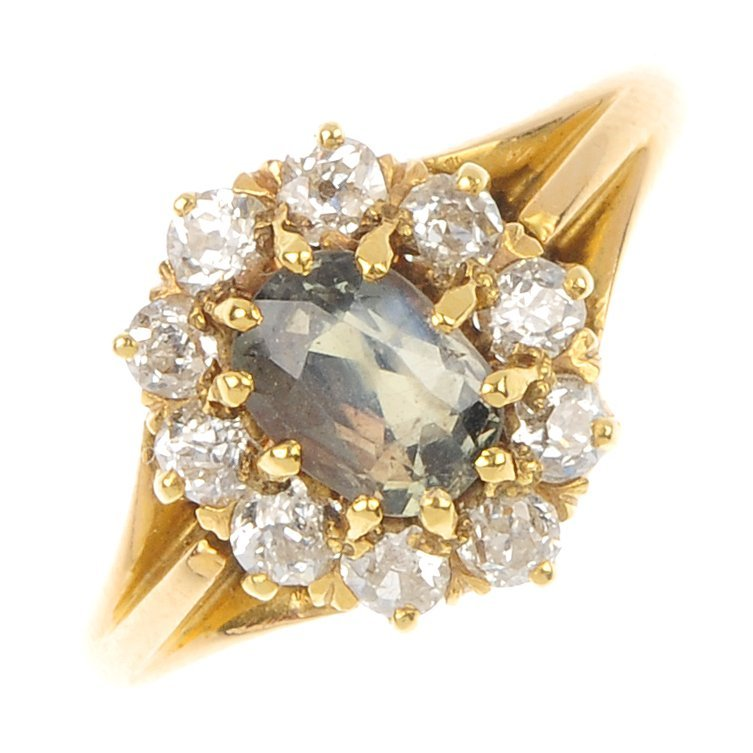 A chrysoberyl and diamond cluster ring.