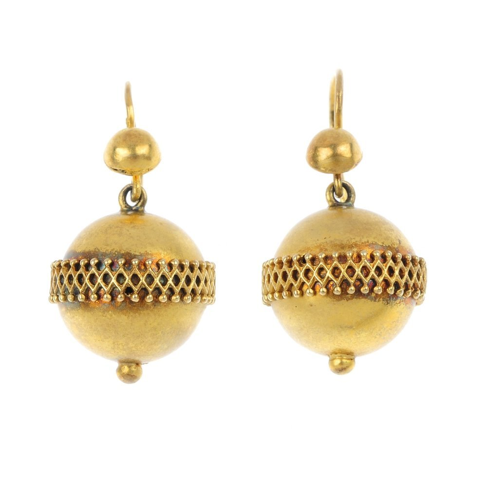 A pair of late Victorian gold ear pendants, circa 1880.