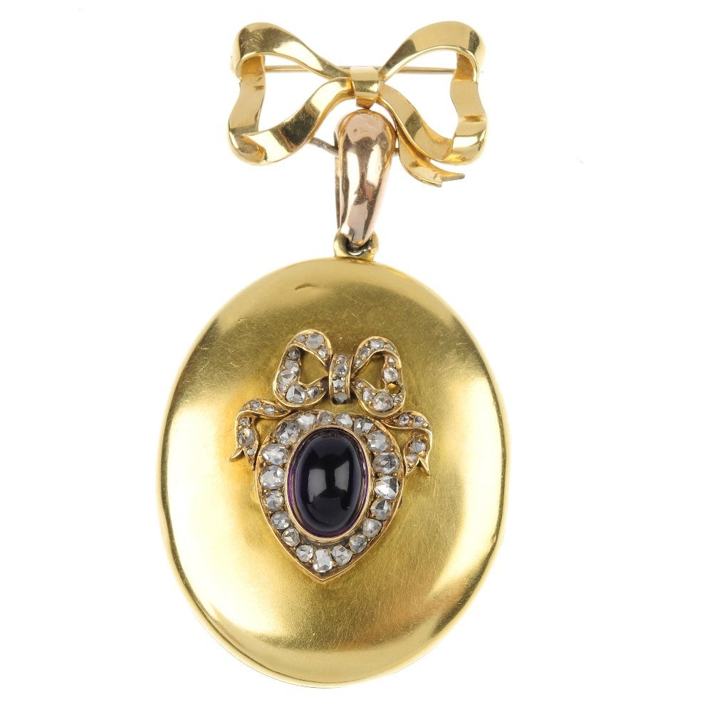 A late 19th century gold diamond and amethyst hinged lo