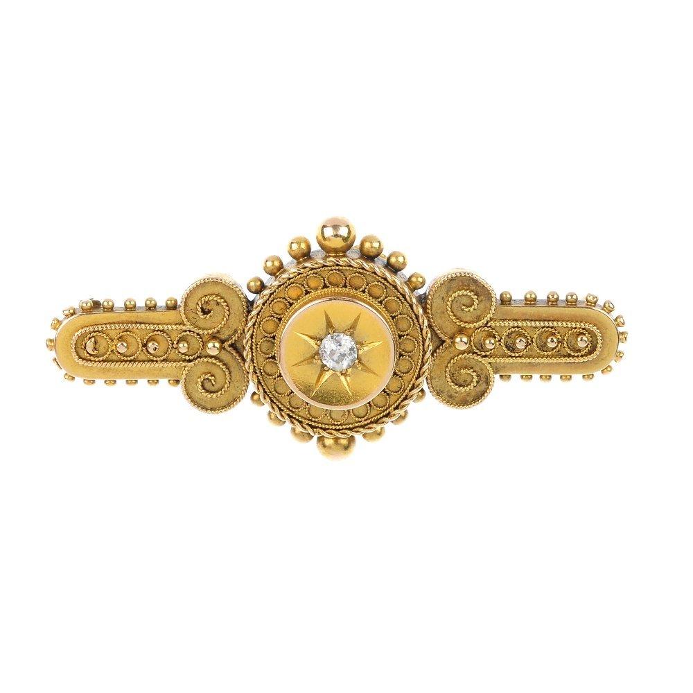 A late 19th century 15ct gold diamond-set brooch.
