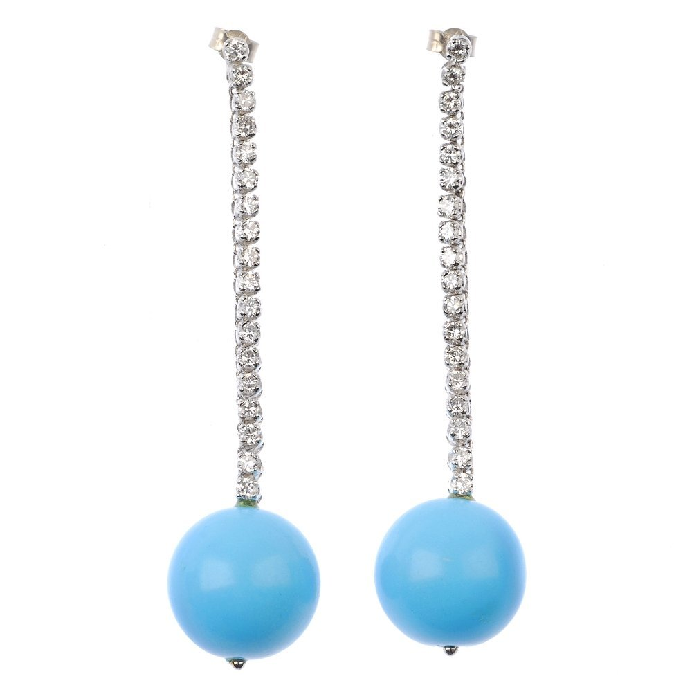 A pair of diamond and reconstituted turquoise ear penda
