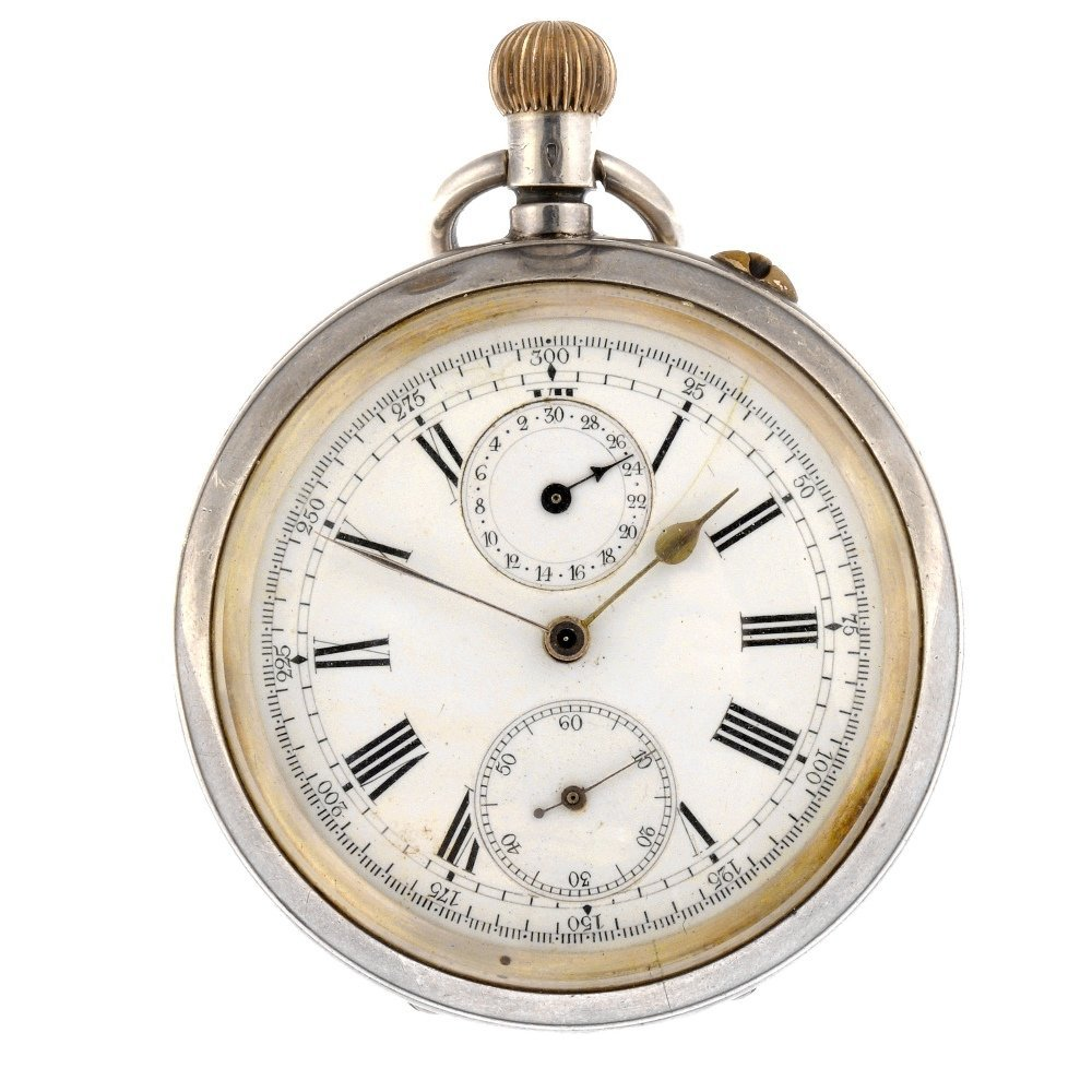 A continental white metal keyless wind open face chrono
