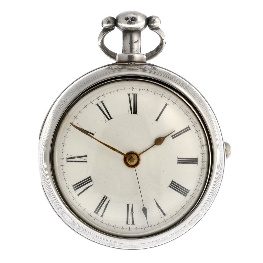 A silver key wind pair case centre seconds pocket watch