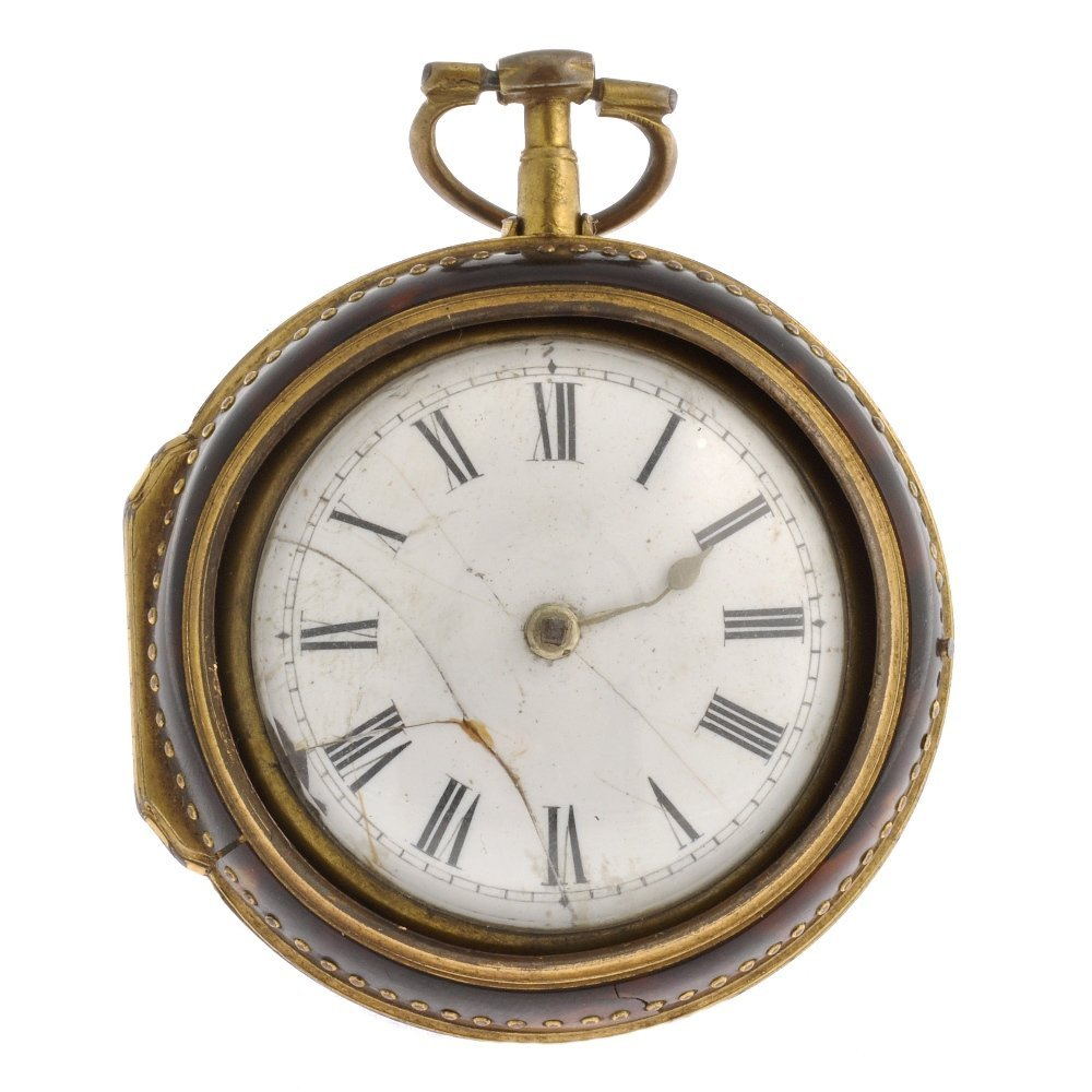 A possibly George III gilt key wind pair case pocket wa