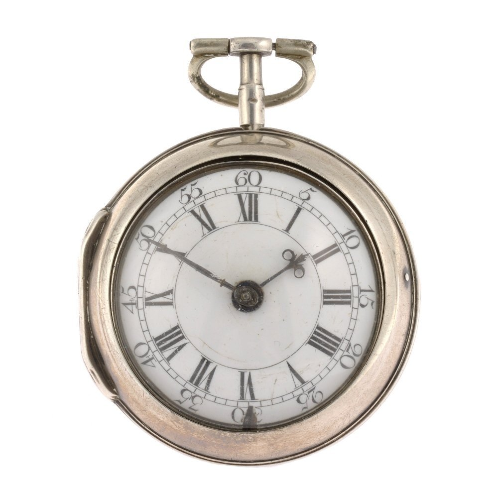 A George III silver key wind pair case pocket watch by