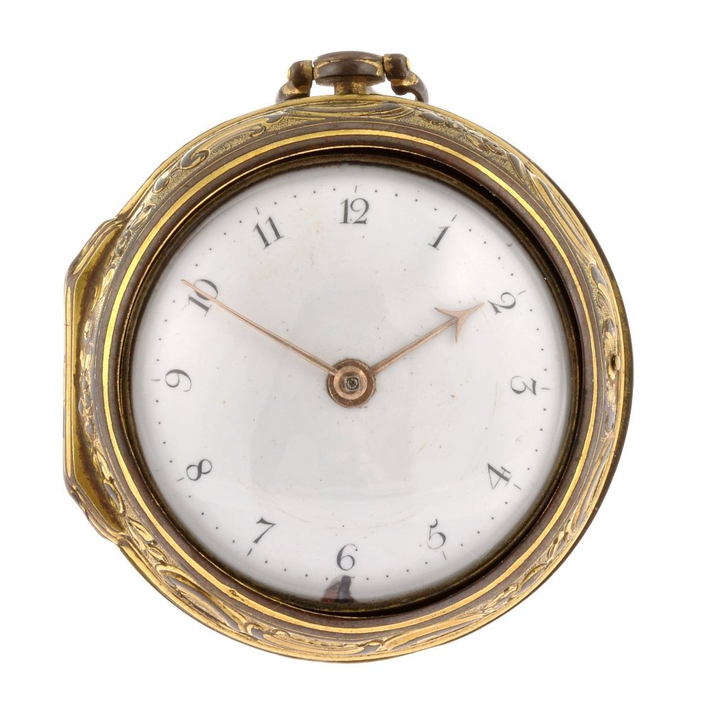 A gilt keyless wind pair case repousse pocket watch by