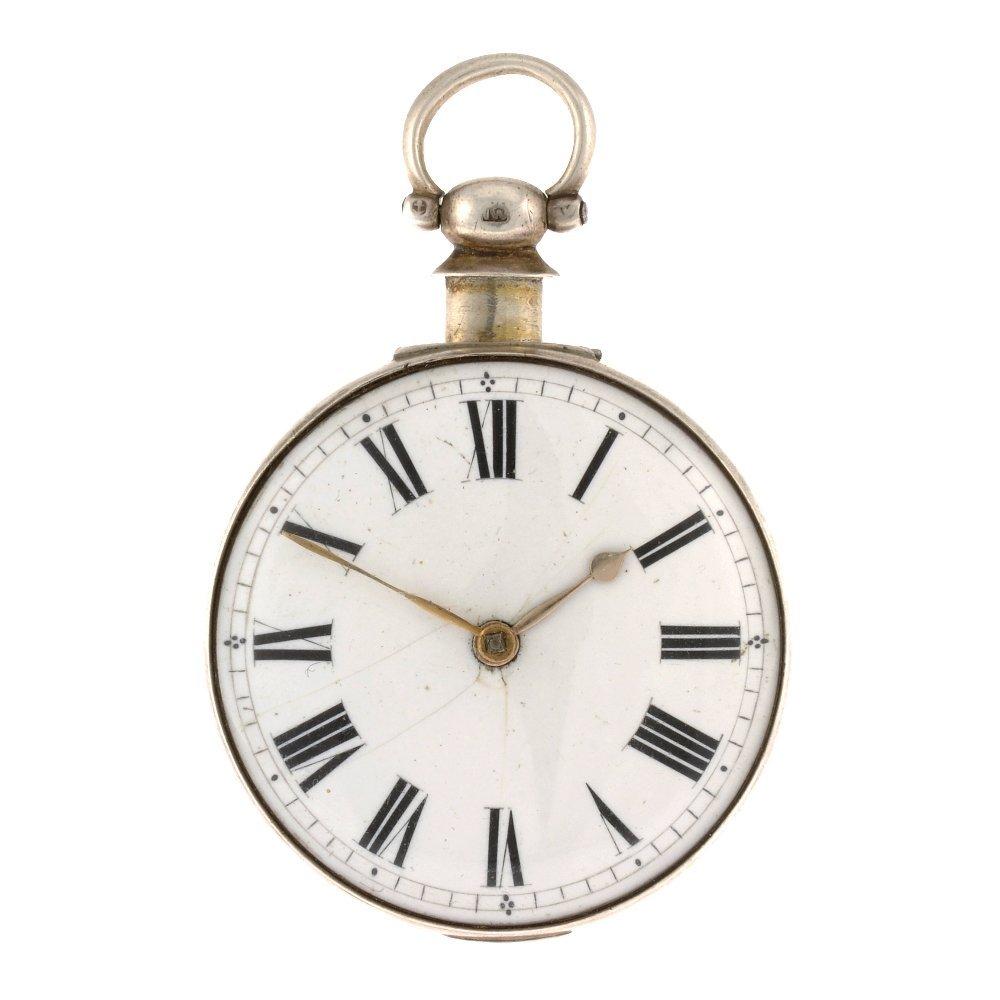 A George IV silver key wind pair case pocket watch.