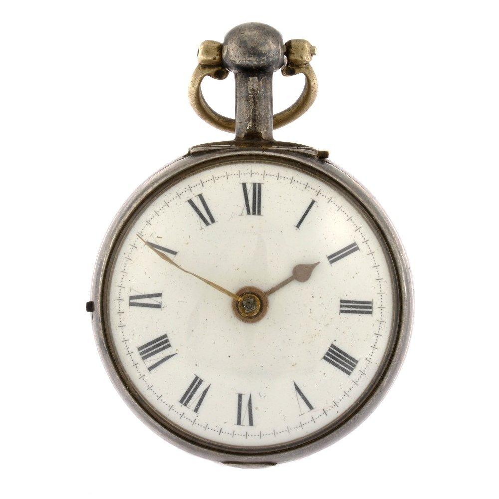 A George III silver key wind pair case pocket watch.