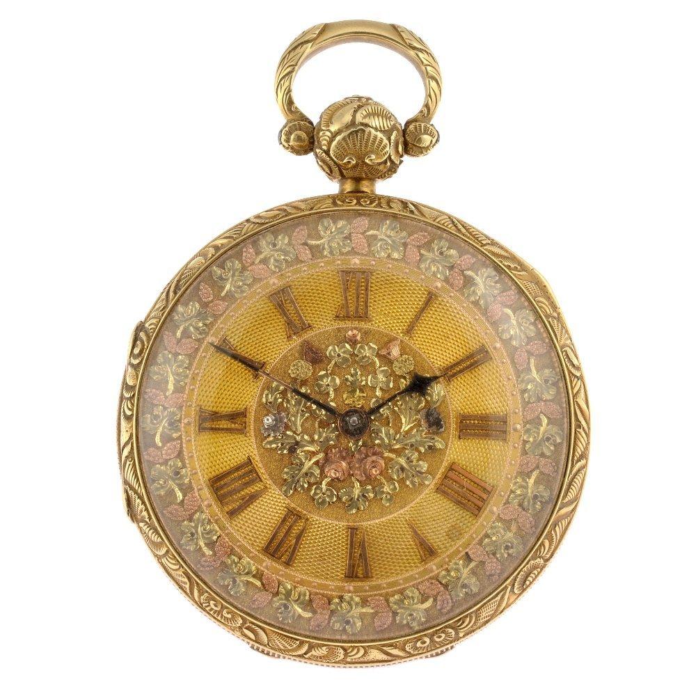 A George IV 18ct gold key wind open face K. Stuart, Liv
