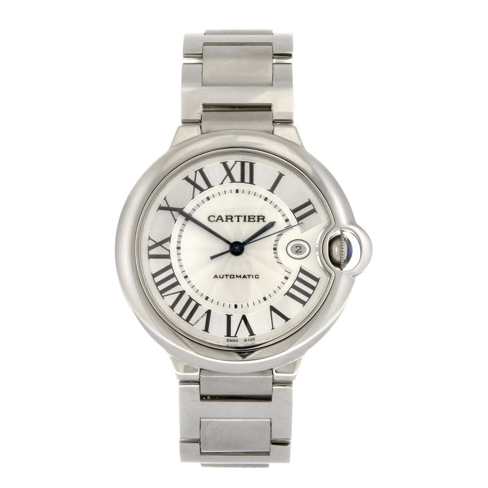 (133100686) A stainless steel automatic Cartier Ballon