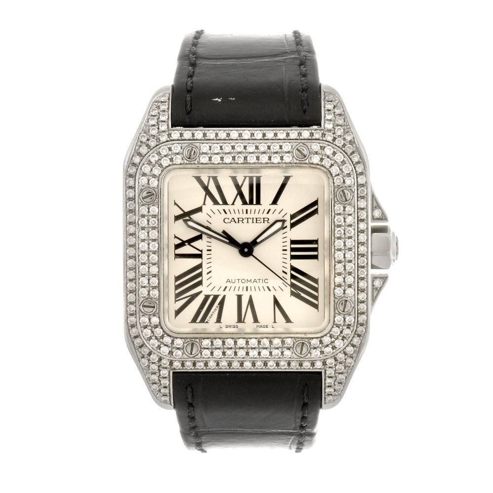(307092071) A stainless steel automatic Cartier Santos