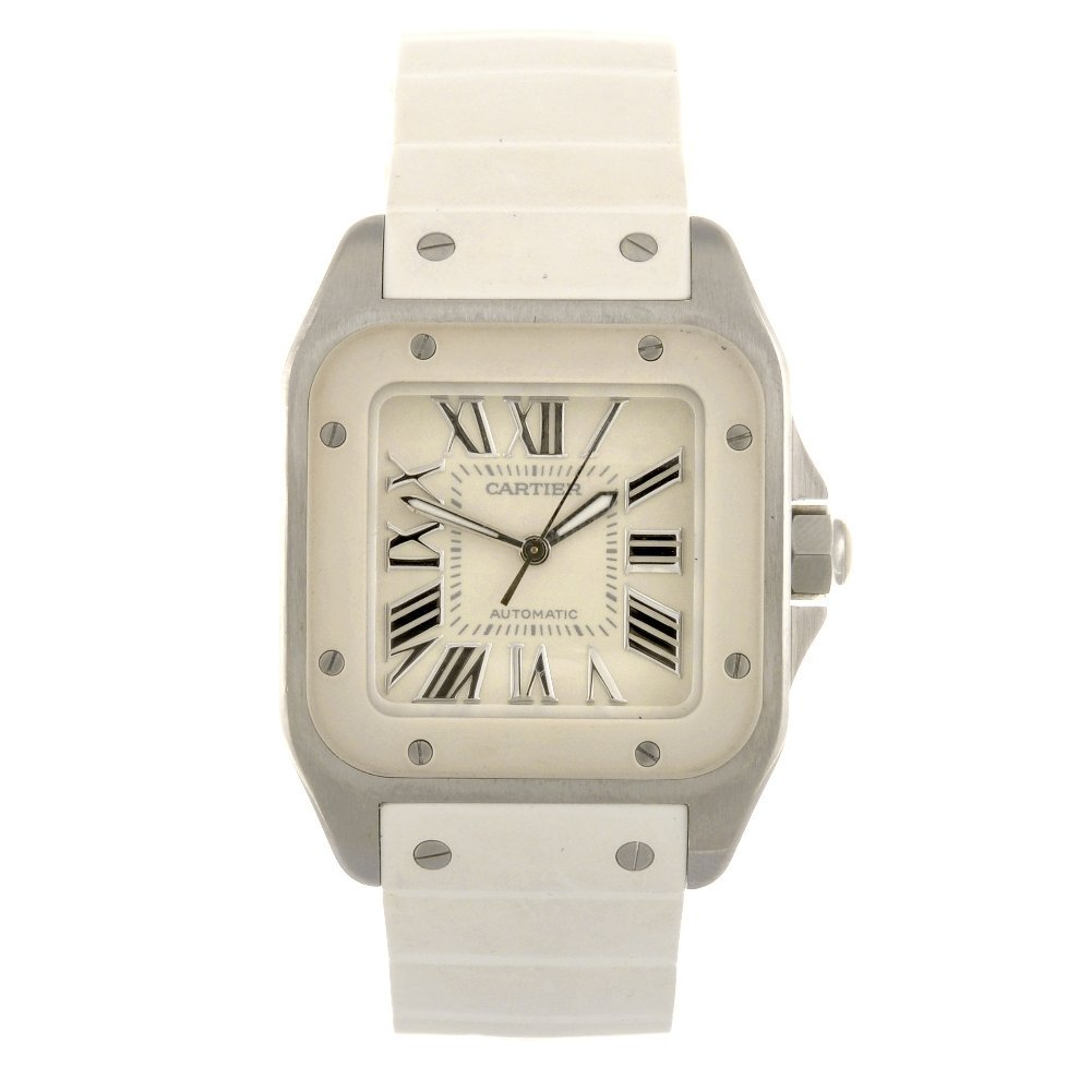 (960000232) A stainless steel automatic Cartier Santos