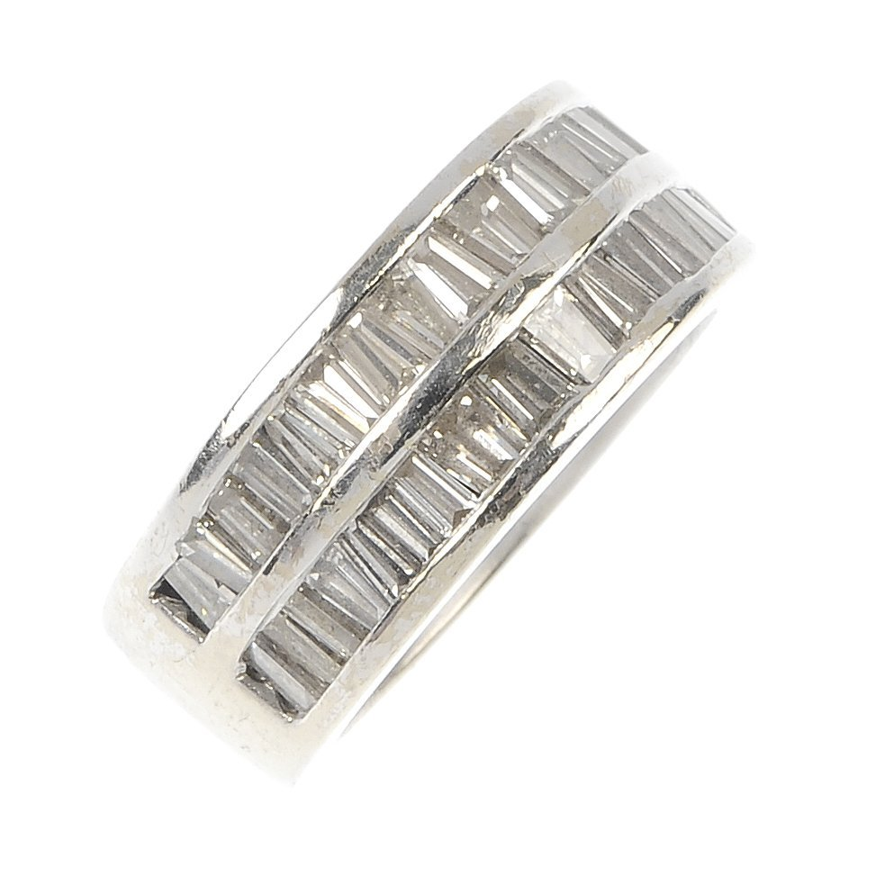 A diamond two-row band ring.