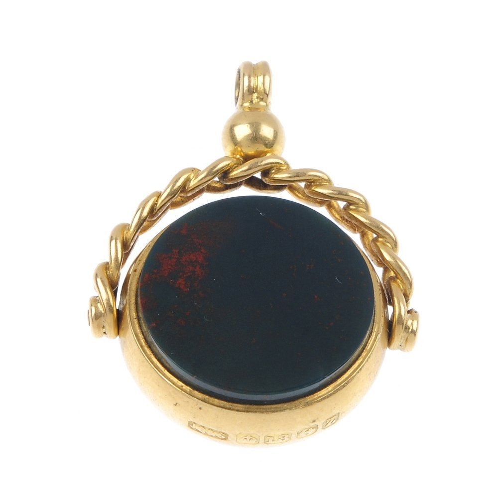 A late Victorian 18ct gold hardstone fob and three past