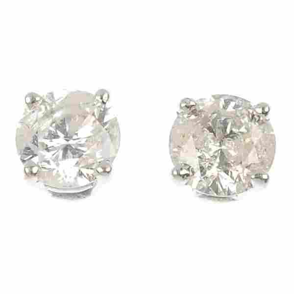 A pair of 9ct gold brilliant-cut diamond single-stone e