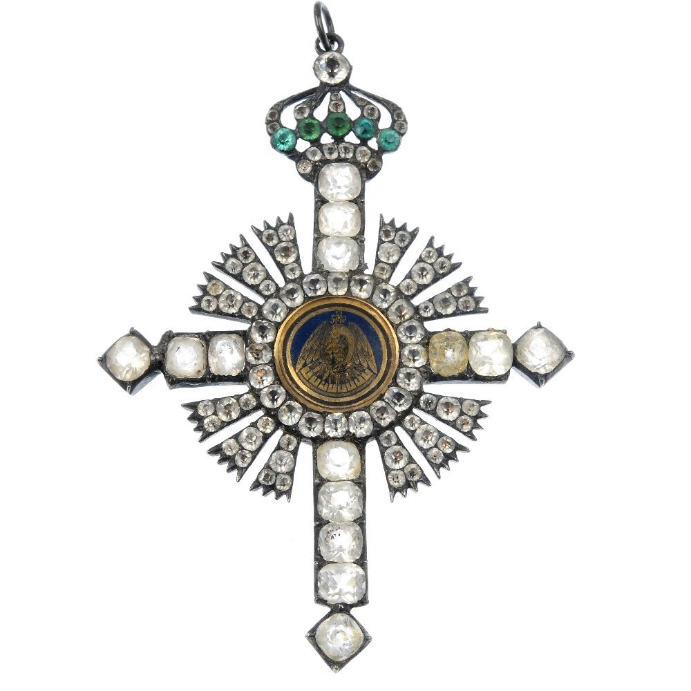A late 19th century continental silver paste cross pend