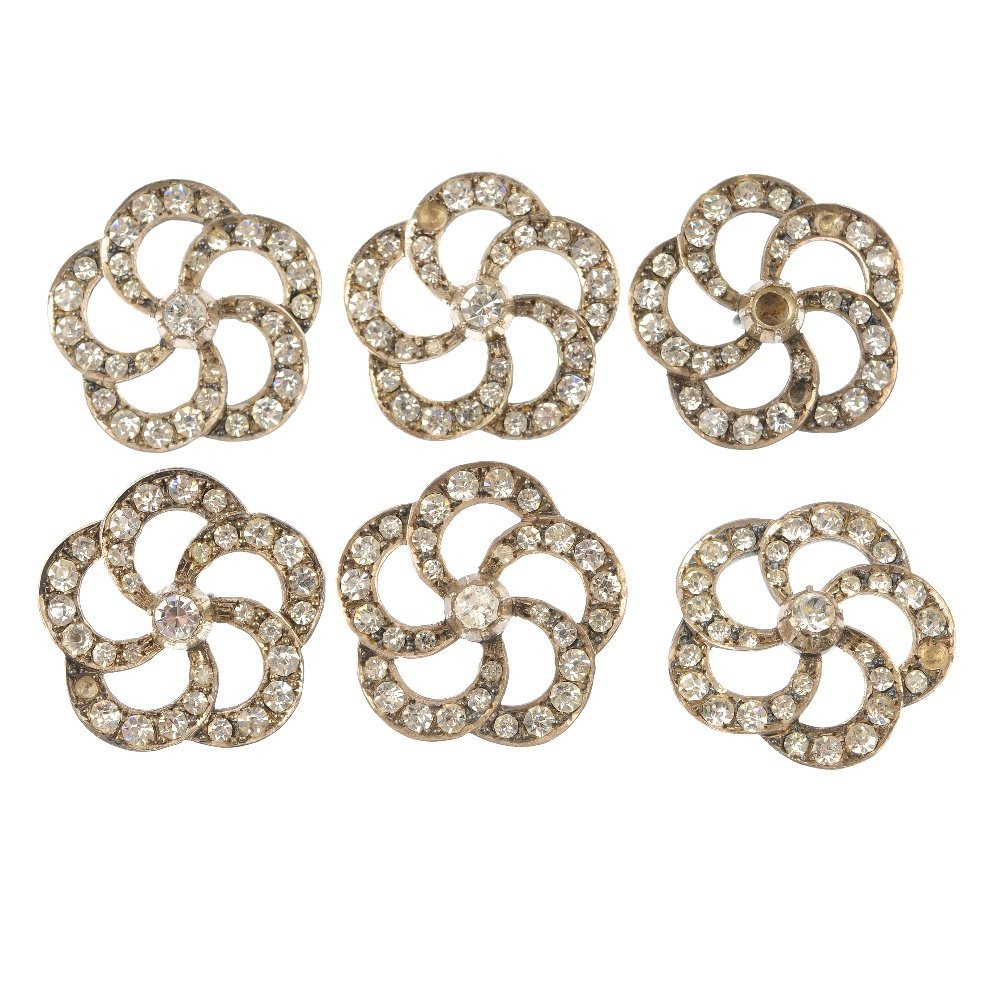A set of six early 20th century silver paste buttons.