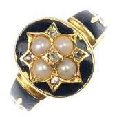 A late 19th century 18ct gold gem-set enamel mourning r