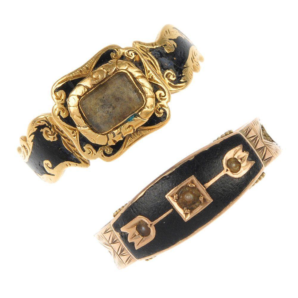 Two late Victorian enamel memorial rings.
