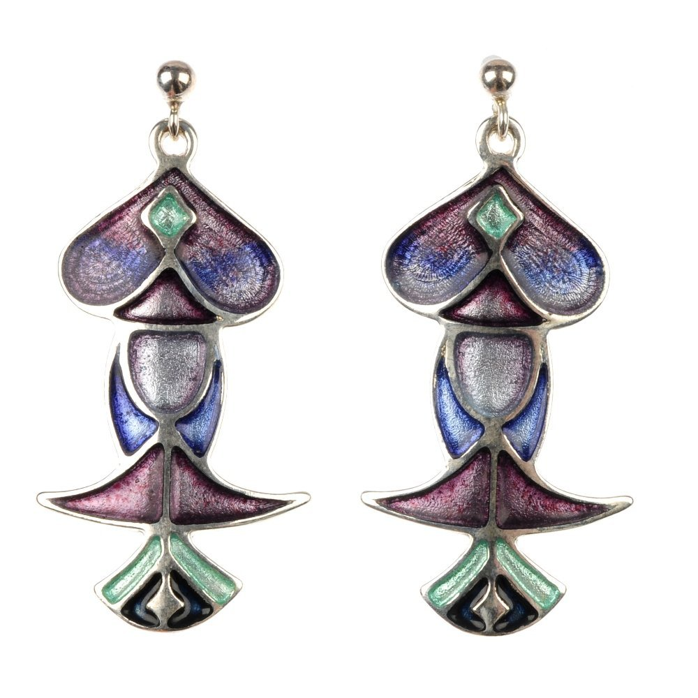 PAT CHENEY - a pair of enamel earrings, with associated