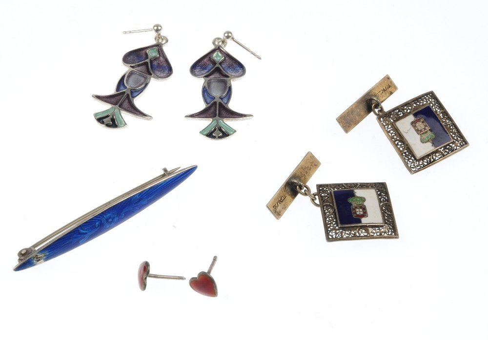 PAT CHENEY - a pair of enamel earrings, with associated - 2
