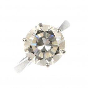 (527446-2-A) A Diamond Single-stone Ring.