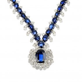 (528247-1-A) A Sapphire And Diamond Necklace.