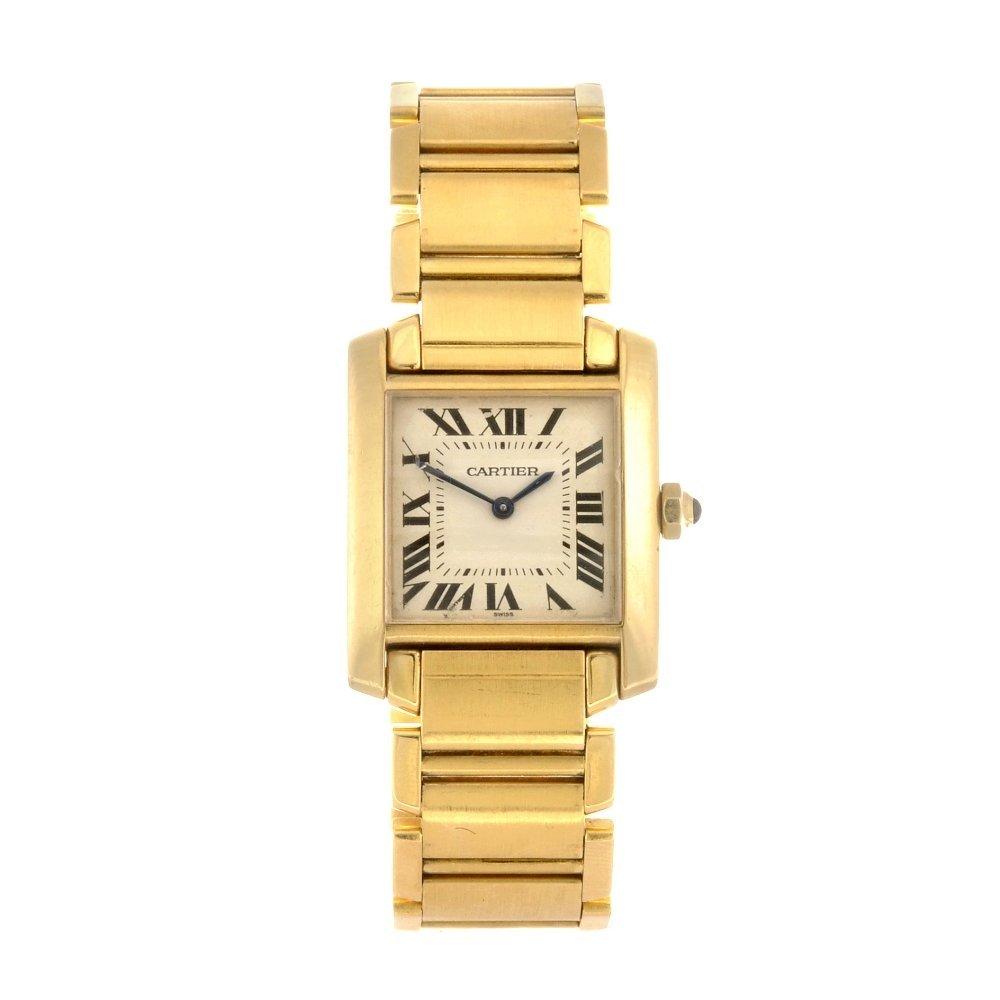 (528247-5-A) An 18k gold quartz Cartier Tank Francaise