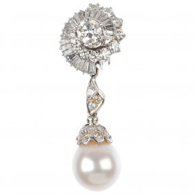 (528247-6-A) A diamond and cultured pearl ear pendant a