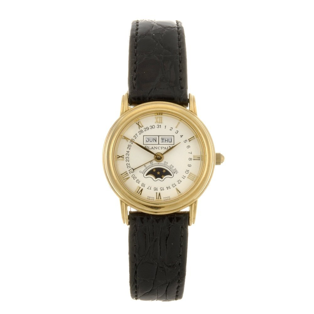 An 18k gold automatic lady's Blancpain wrist watch.