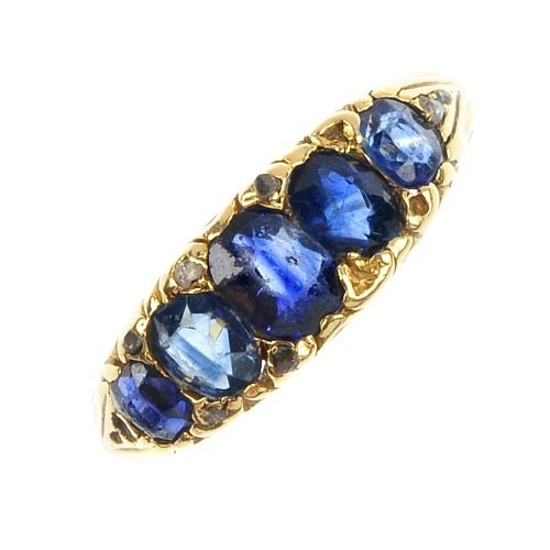 A sapphire five-stone ring.