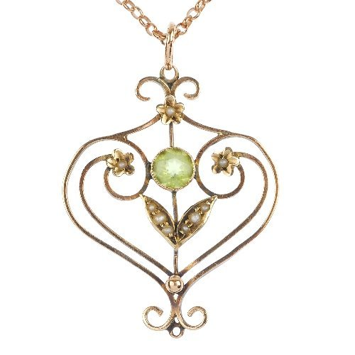 An early 20th century 9ct gold peridot and seed pearl p