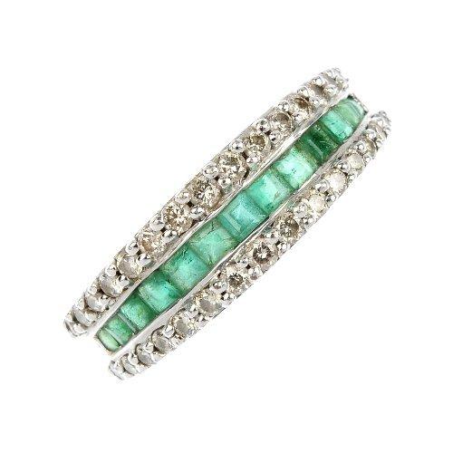 A 9ct gold emerald and diamond half-circle eternity rin