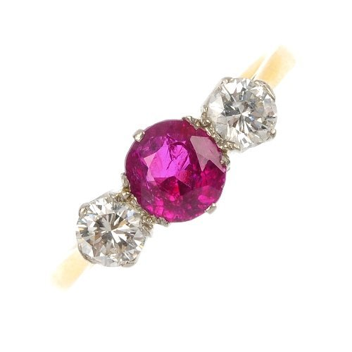 A mid 20th century 18ct gold and platinum ruby and diam