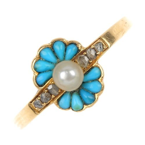 A mid 20th century gold turquoise, seed pearl and diamo