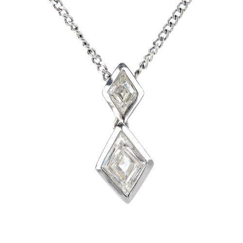 An 18ct gold diamond two-stone pendant.