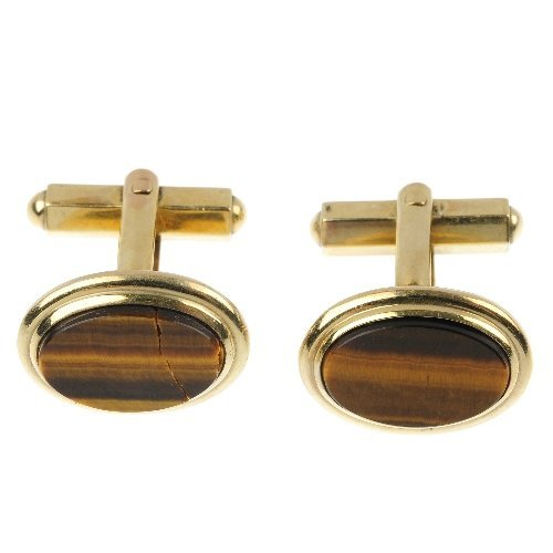 A pair of 9ct gold tiger's-eye cufflinks.