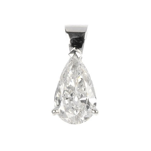 A fracture-filled diamond single-stone pendant.