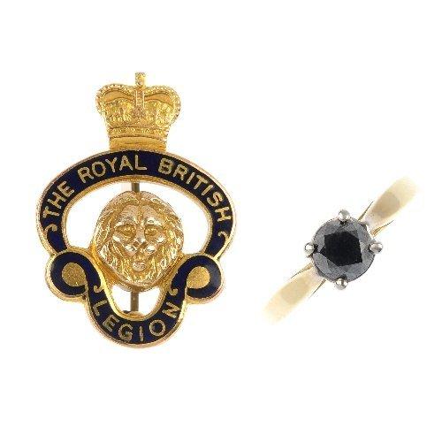 A 9ct gold enamel Royal British Legion badge and a gem-