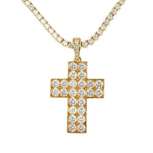 (98390) CARTIER- an 18ct gold cross diamond pendant and