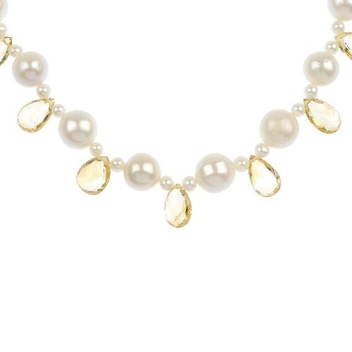 (108356) A cultured pearl and citrine fringe necklace.