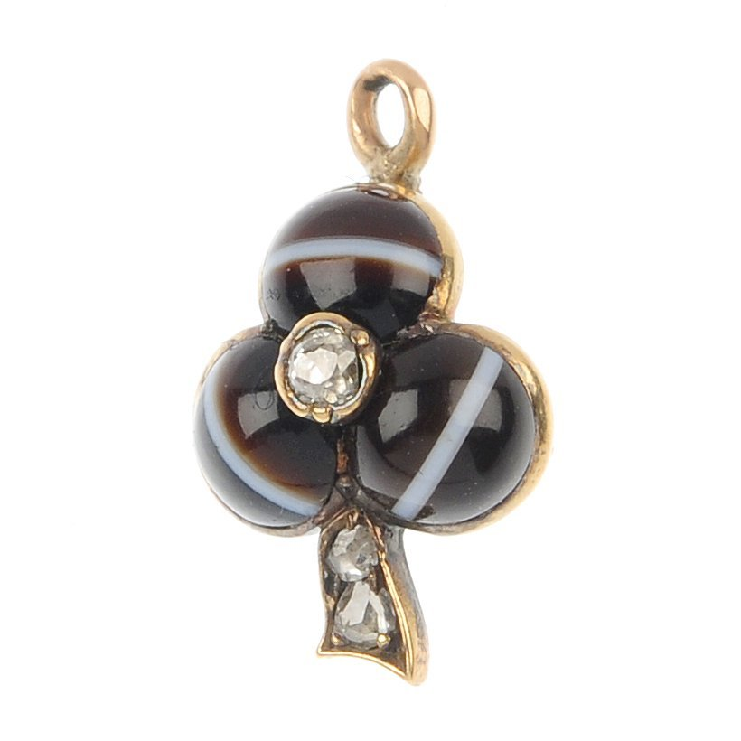 An early 20th century gold diamond and banded agate clo