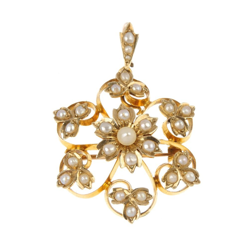 A split pearl pendant.